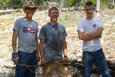 Part of the work crew: Daniel, Tait and Samuel