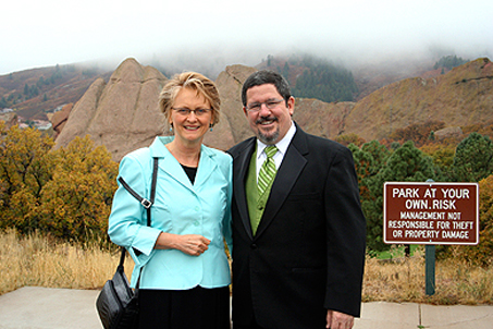 Mom and Dad in front of the rock formations