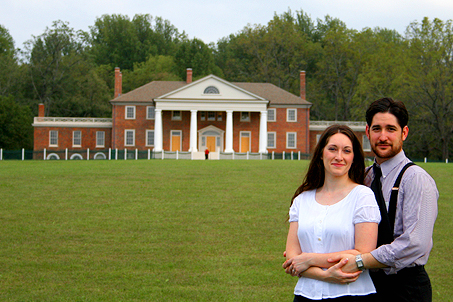 On the front lawn of the fully-restored Montpelier