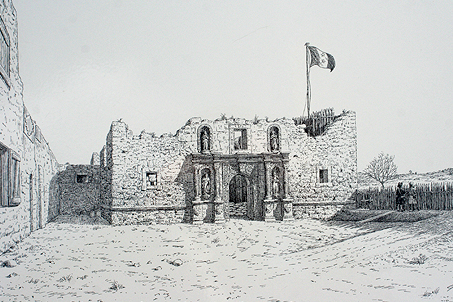 A sketch of the Alamo at the time of the battle