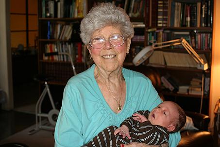Calvin Blair with Great-Grandma Garrett