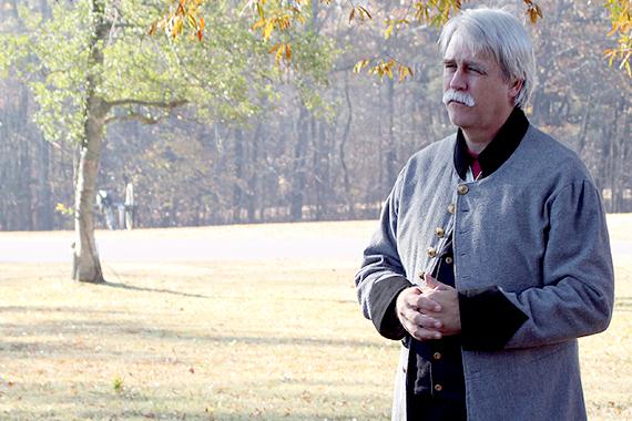 Historian William Potter addresses tour attendants at Shiloh battlefield