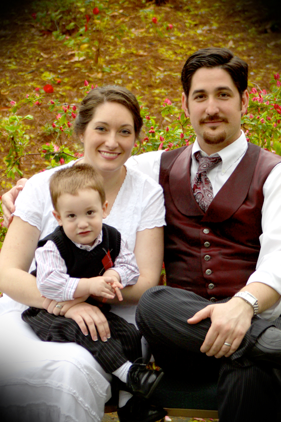 Family Shot in Front of the Azalea Buds — Yes, Melissa Made My Vest :)