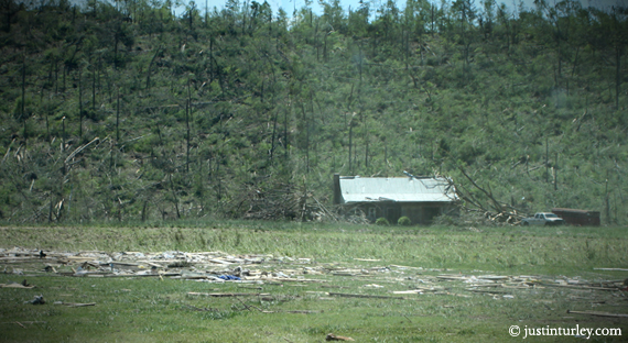 AFTER: Lee home flattened, office crushed by tree, retreat center still standing, but damaged
