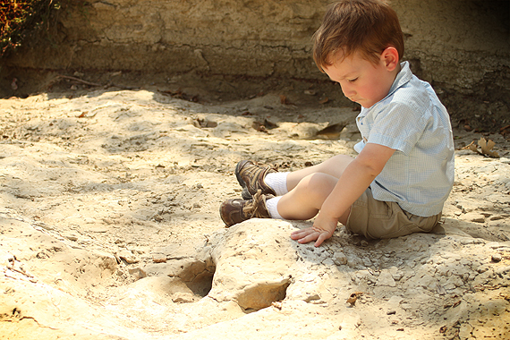 An Allosaur footprint—recreating a pose from one year ago