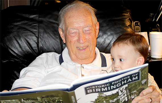 Great-Grandaddy Howard Clyde Garrett Reads to Christian's Big Brother, Calvin