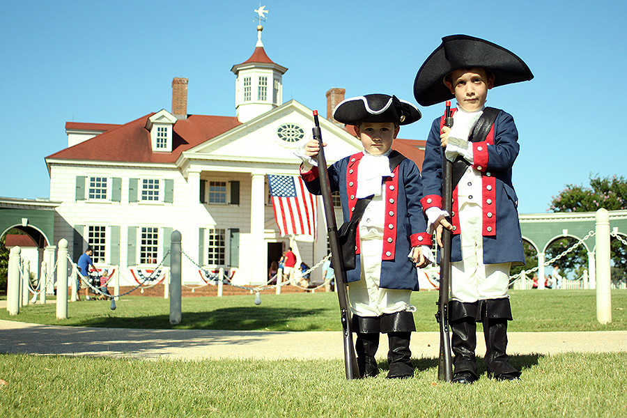 In front of the famous home of George Washington — Mount Vernon