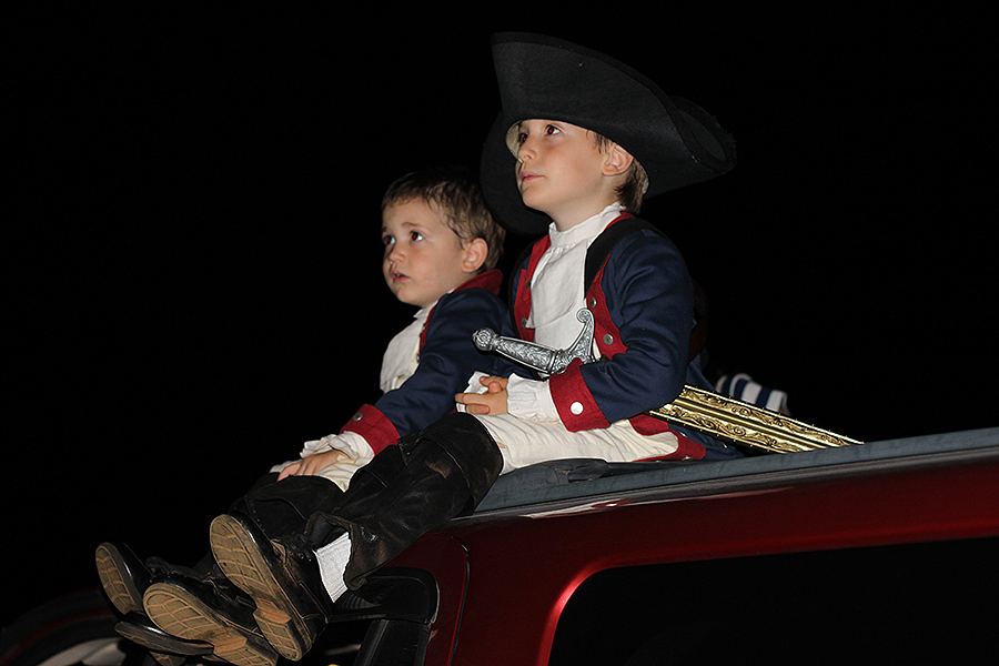 The roof of the car proved to be the best seat in the house for watching the fireworks show